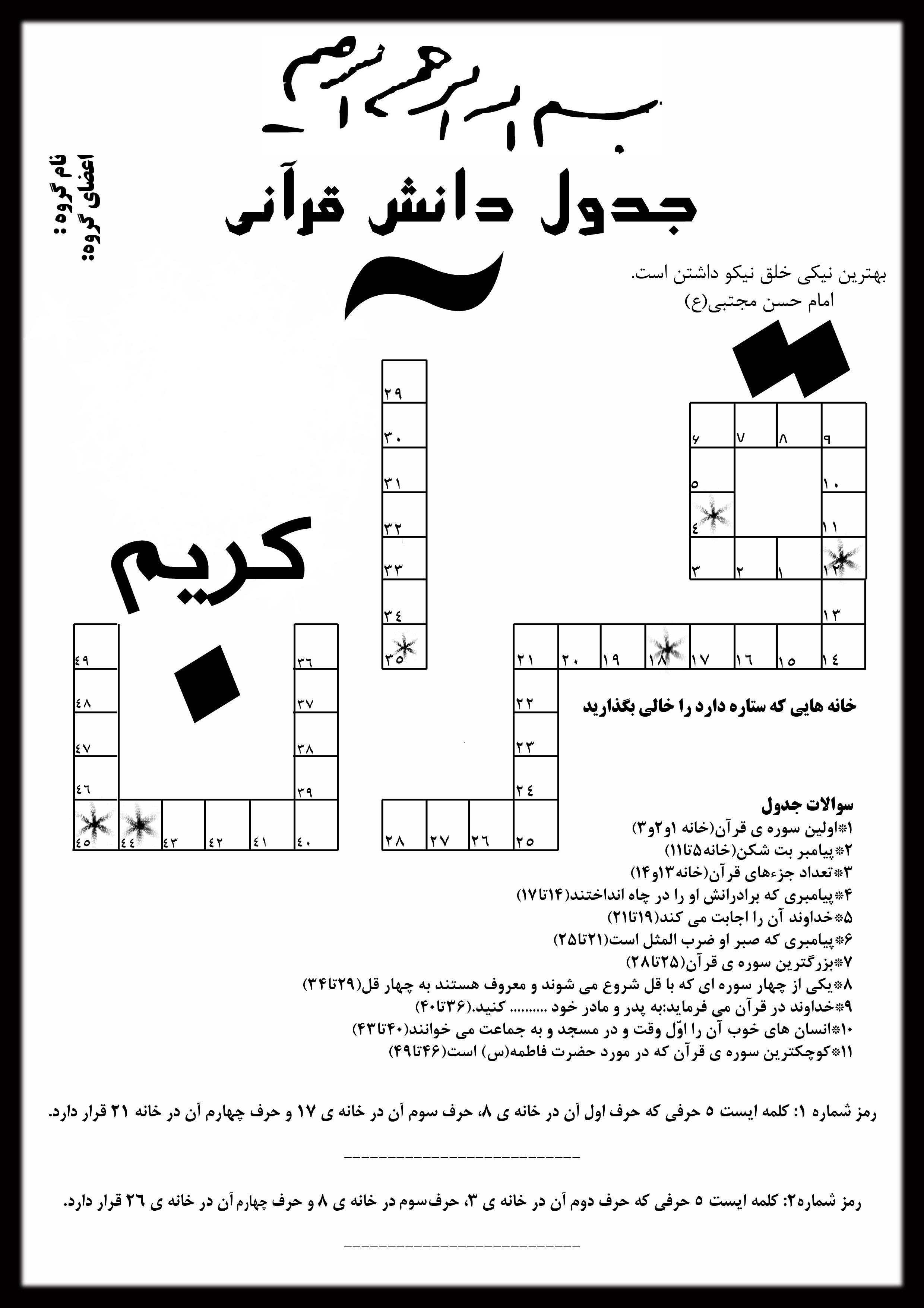 دانلود جدول قرآنی