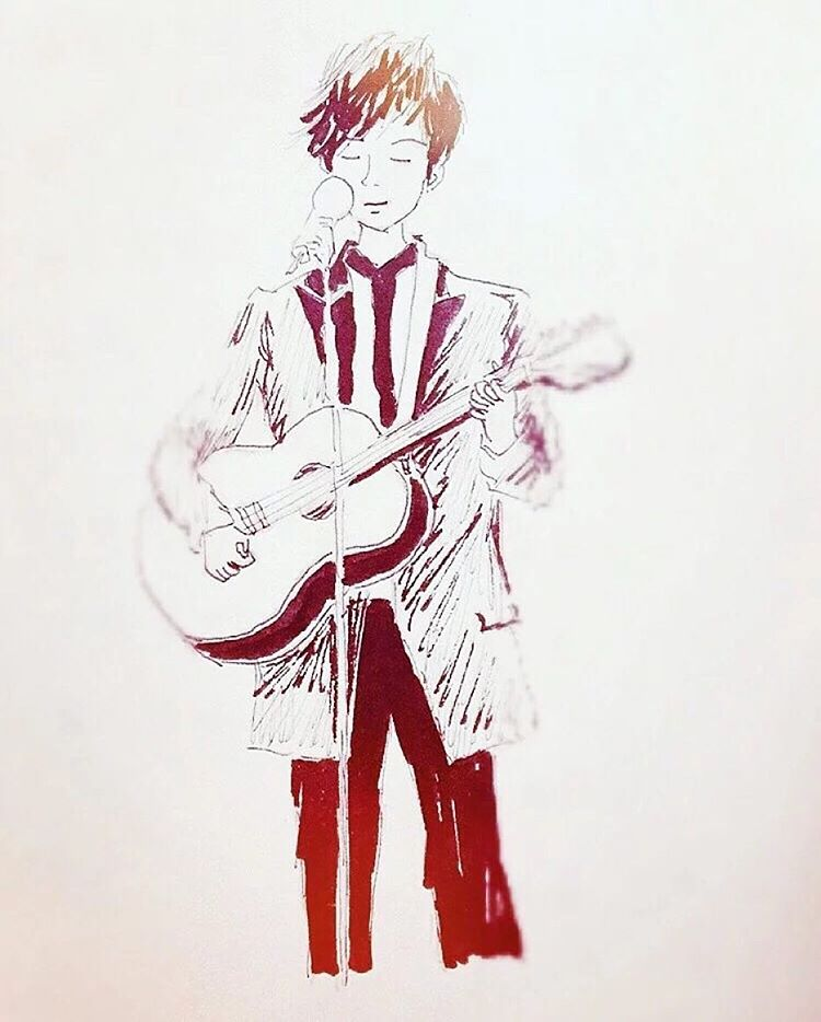 Art by triples.kua (China) from Instagram - Hyun Joong... Gemini tour... guitar... Because I'm stupid