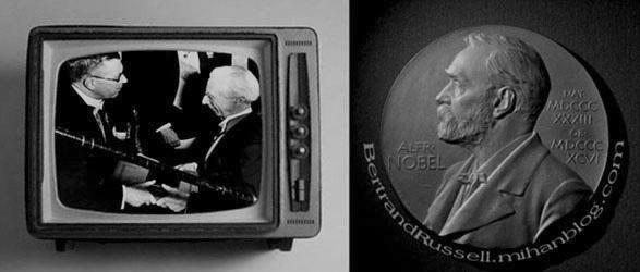 راسل در مراسم اهدای جایزه نوبل