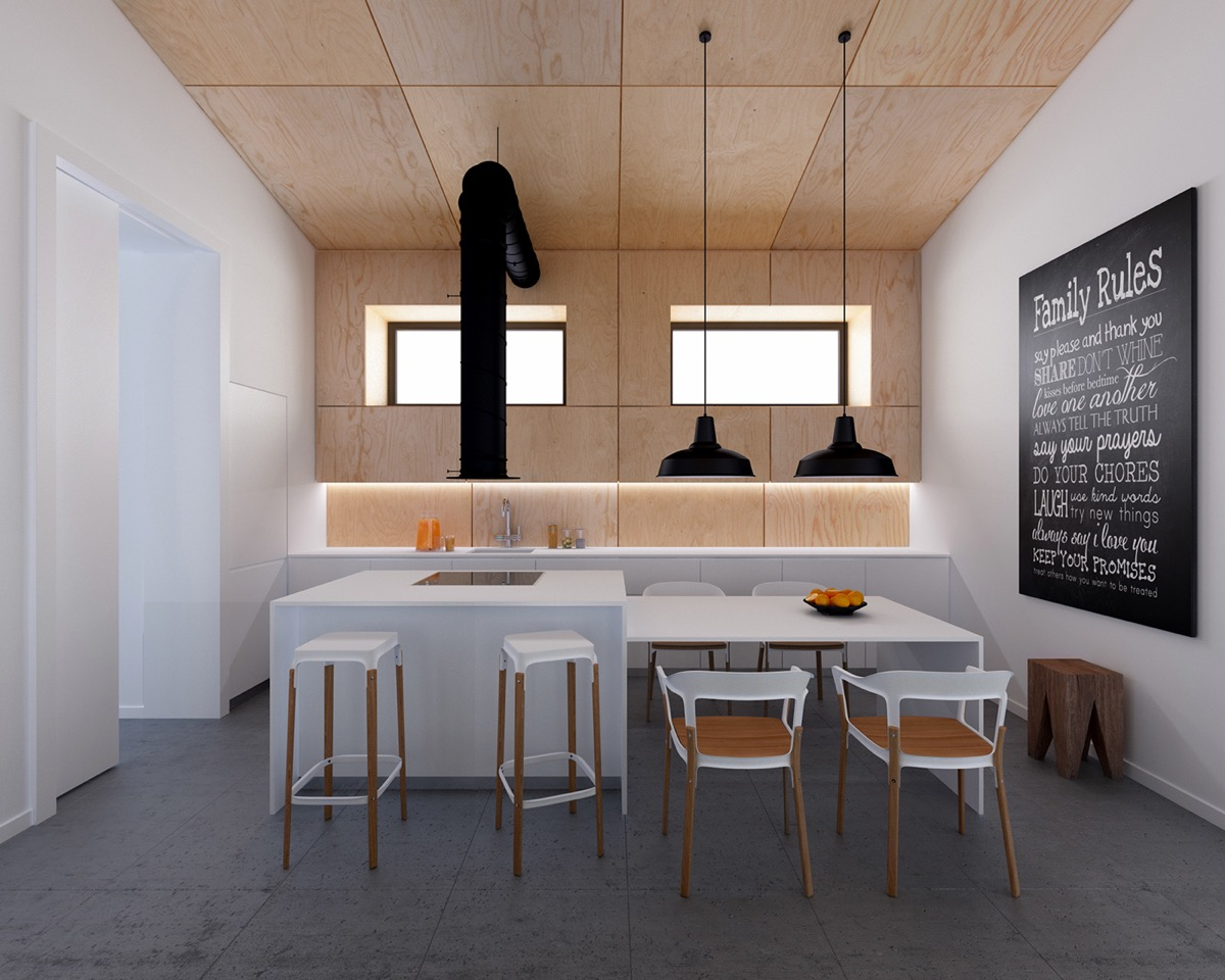 آشپزخانه با رنگ سفید و چوب