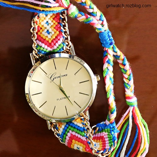 ساعت مچی دخترانه با بند رنگی