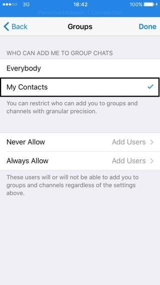 telegram,آیفون,تبلیغات,ترفند تلگرام,تلگرام,جلوگیری از اضافه شدن به کانال,کانال تبلیغاتی تلگرام,گروه تبلیغاتی,ترفندهای تلگرام ایفون,ترفندهای تلگرام اندروید