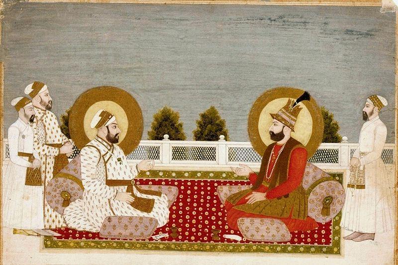 نگاره نادرشاه و محمد شاه گورکانی