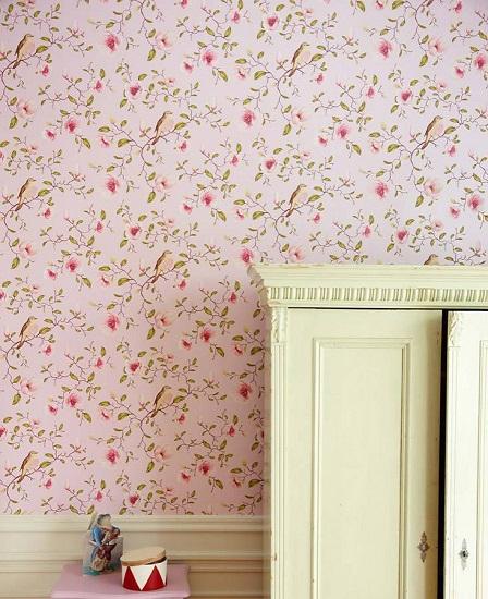 کاغذ دیواری گل و پرنده
