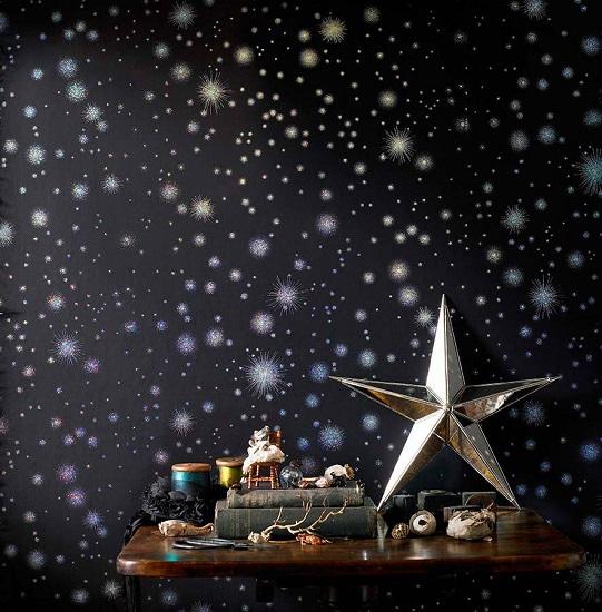 کاغذ دیواری طرح شب و ستاره