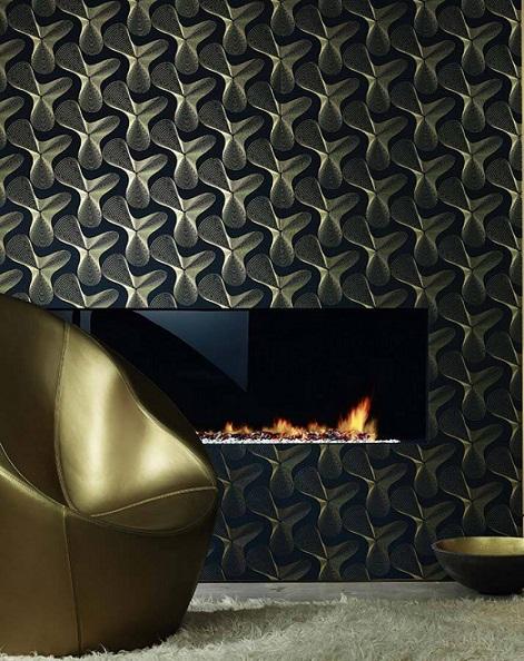 کاغذ دیواری هندسی متالیک