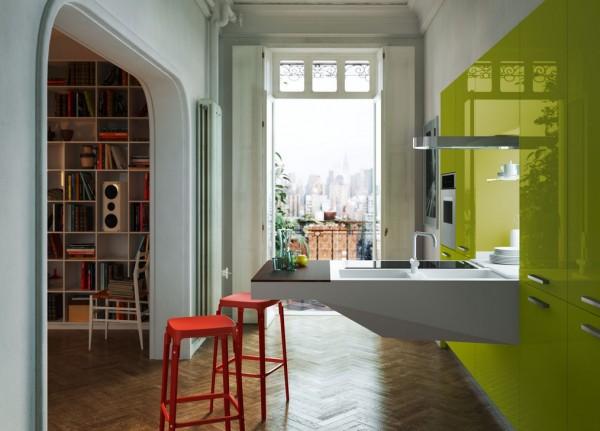 آشپزی در آشپزخانه زرد