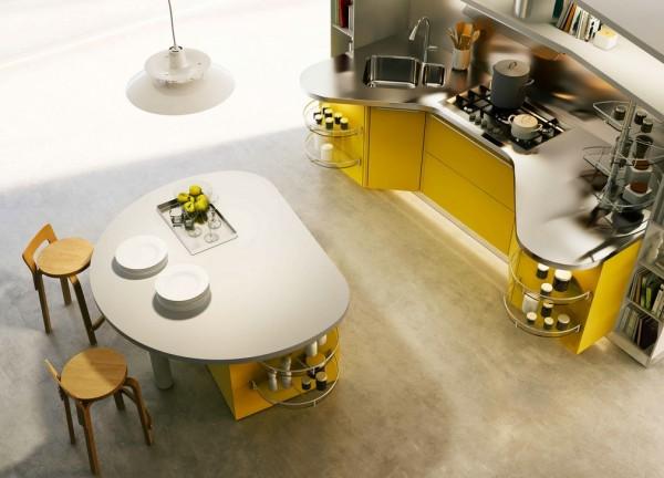 آشپزخانه مدرن زرد