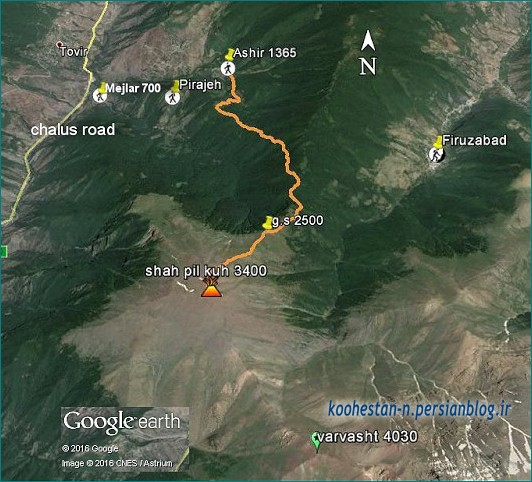 قله شاه پیل کوه در گوگل ارث