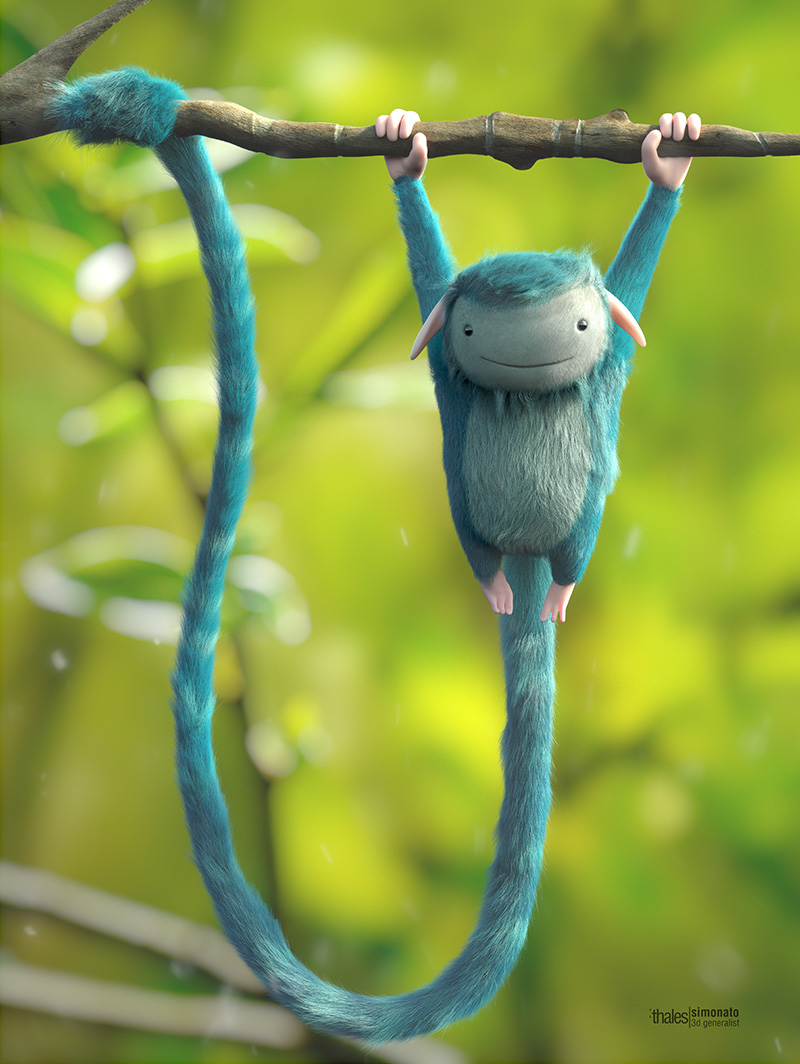 blue monkey animation