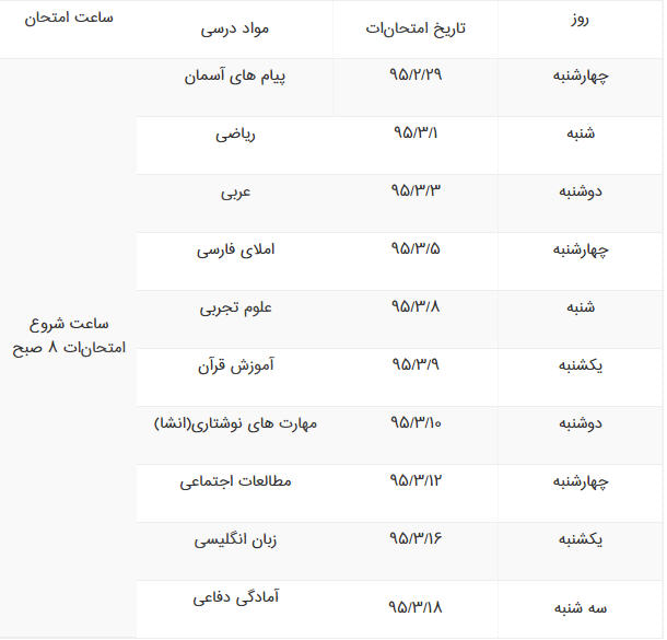 برنامه امتحانی خرداد95 پایه نهم تهران