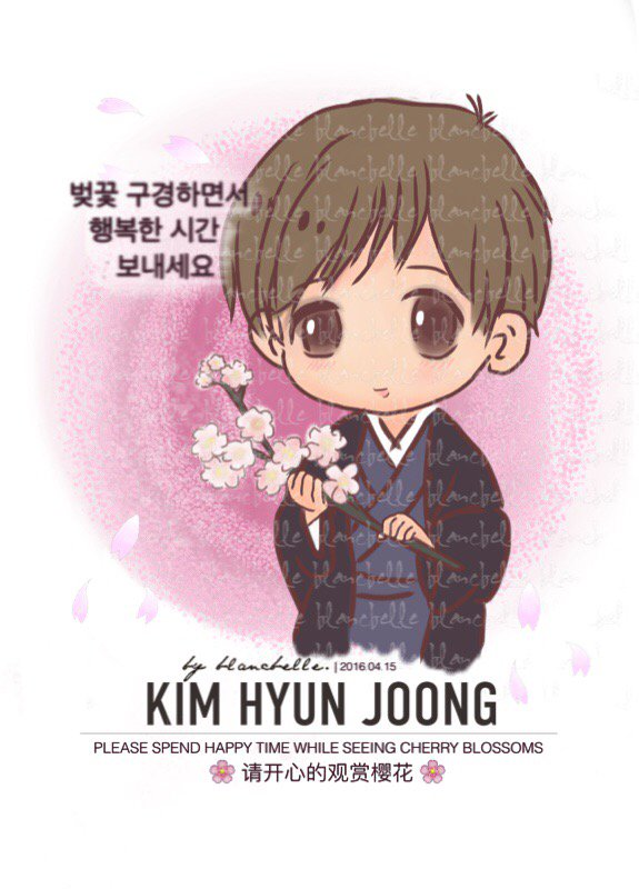 [blancbelle Fanart] Kim Hyun Joong - Please Spend Happy Time While Seeing Cherry Blossoms [2016.04.15]