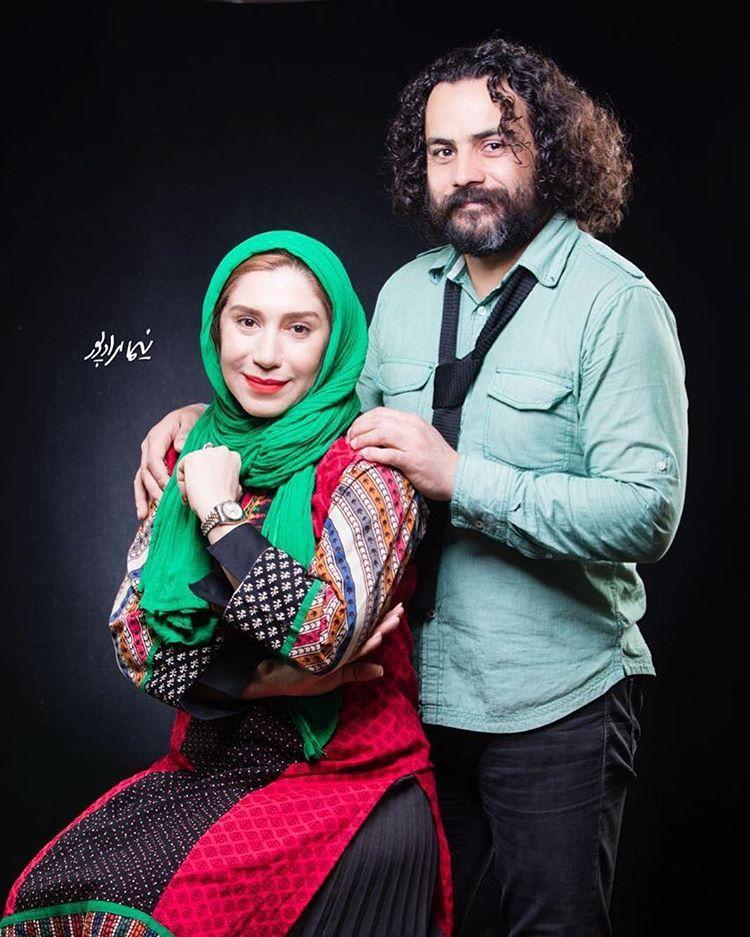 نسیم ادبی با همسرش