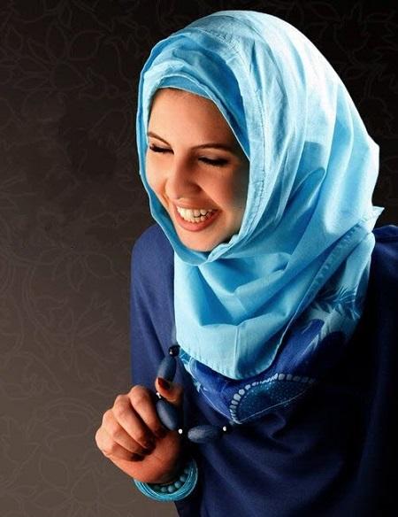 روسری آبی زنانه زیبا