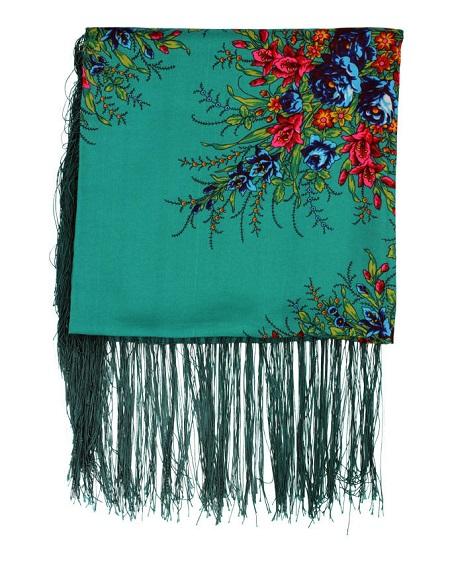 روسری ترکمن سبز ریشه دار