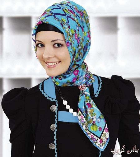 روسری مجلسی آبی