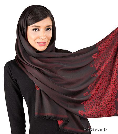 شال و روسری کرمان مشکی و قرمز
