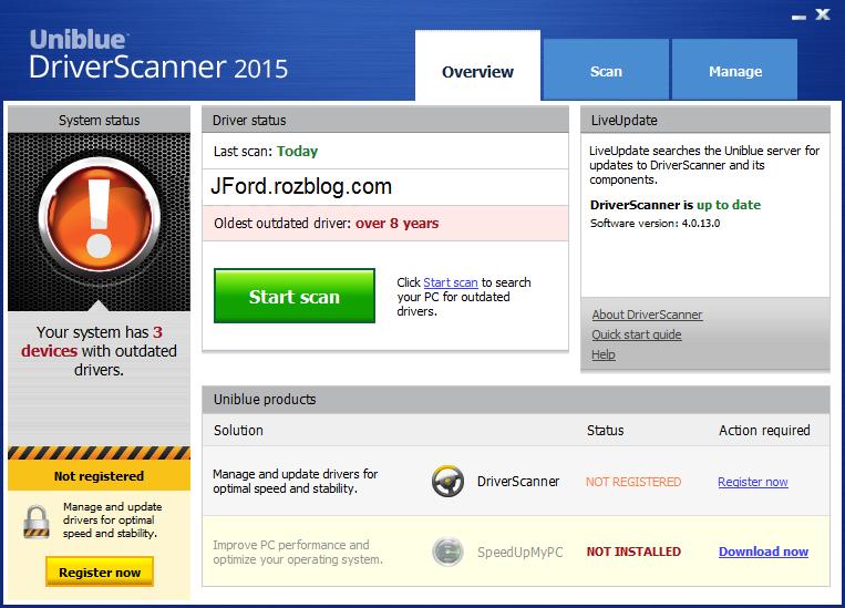 Uniblue DriverScanner 4.0.16.2 نرم افزار مدیریت درایورها