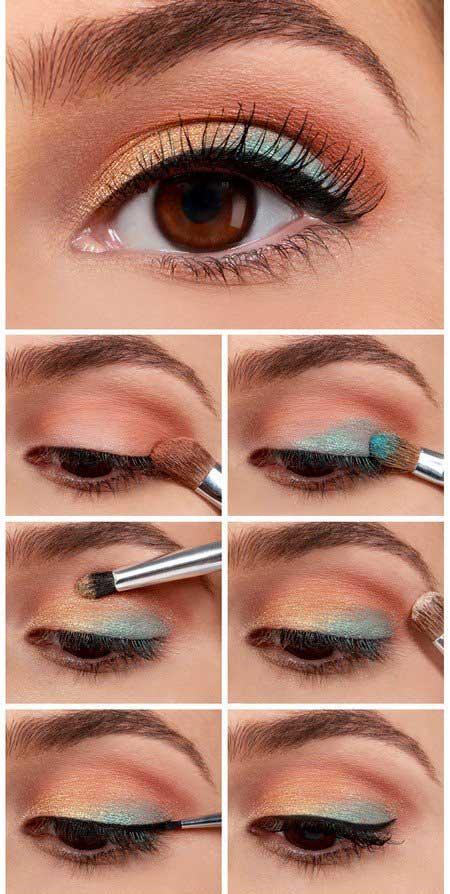 آموزش تصویری آرایش چشم با رنگ های آبی و مسی , آرایش و زیبایی