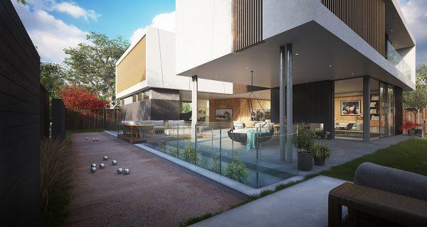 اتصال به حیاط فضای داخلی ویلا