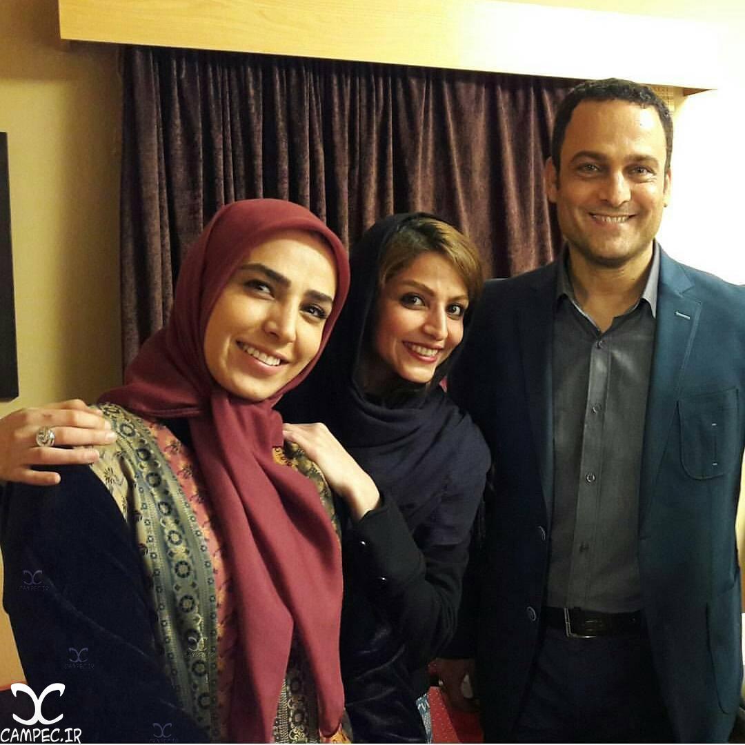 حسین یاری و سوگل طهماسبی در پشت صحنه سریال برادر