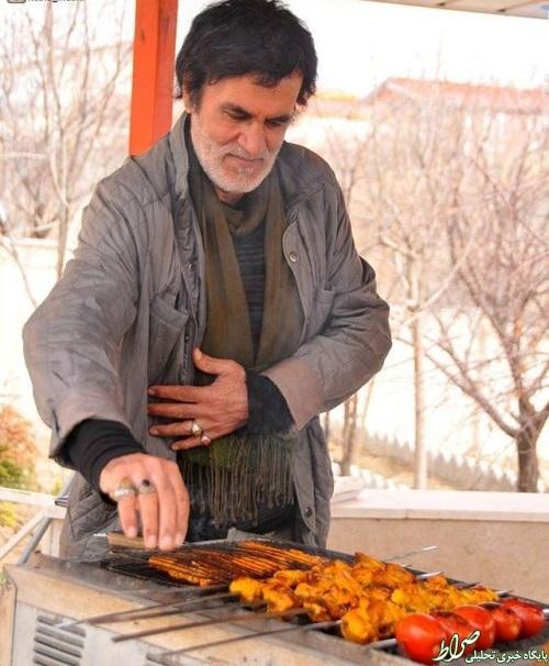 عکس دیده نشده حبیب ،در حال پختن جوجه کباب , چهره های ایرانی