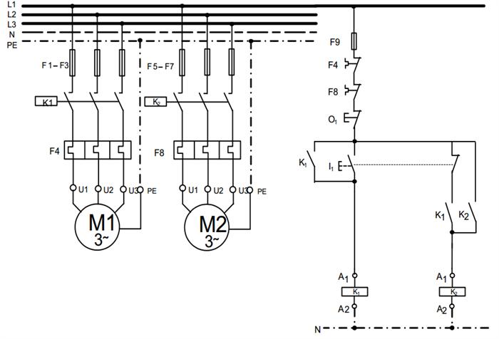 مدار قدرت و فرمان مربوط به راه اندازی دو موتور سه فاز به صورت یکی پس از دیگری