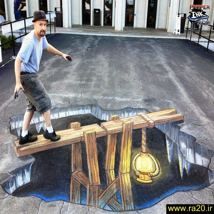عکس نقاشی سه بعدی روی زمین