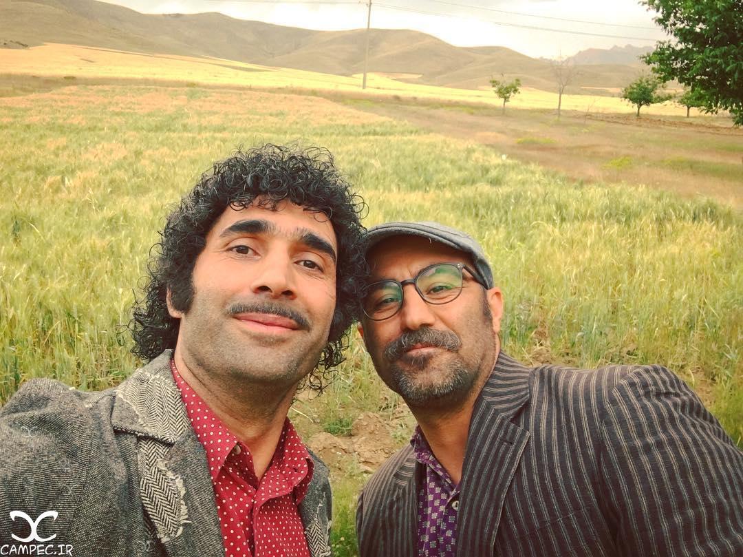 هادی کاظمی و محسن تنابنده در پشت صحنه سریال علی البدل