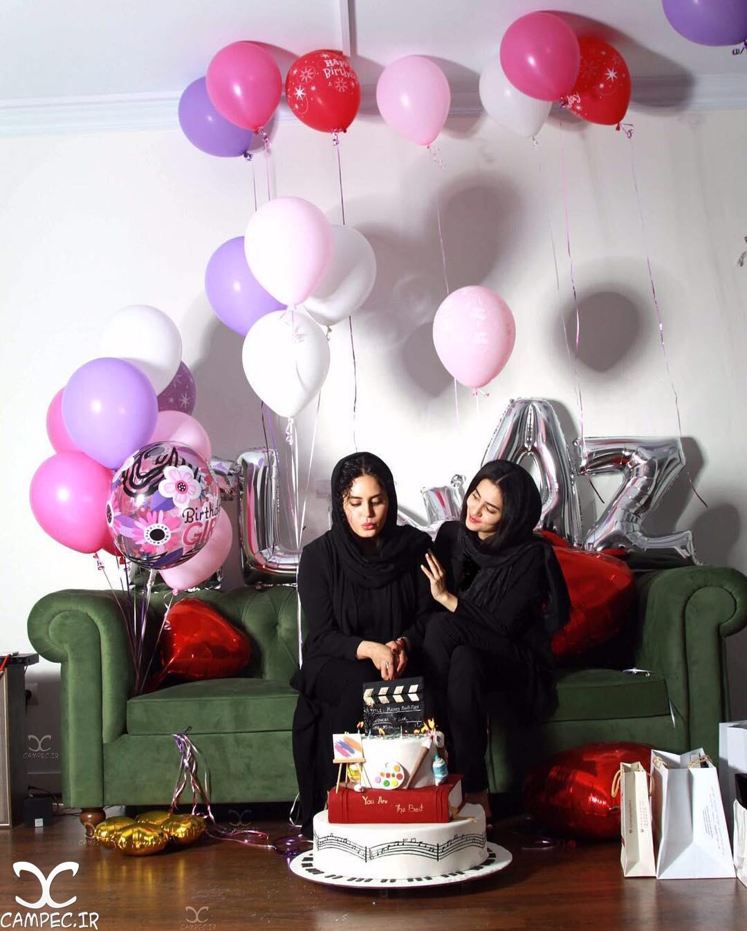 الناز شاکردوست و خواهرش در روز تولدش