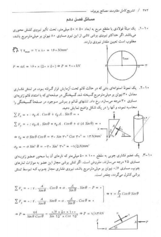 دانلود کتاب تشریح مسائل مقاومت مصالح پوپوف جلد 1 pdf فارسی