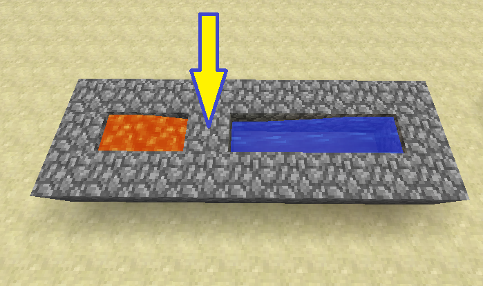 Lava + Water = CobleStone