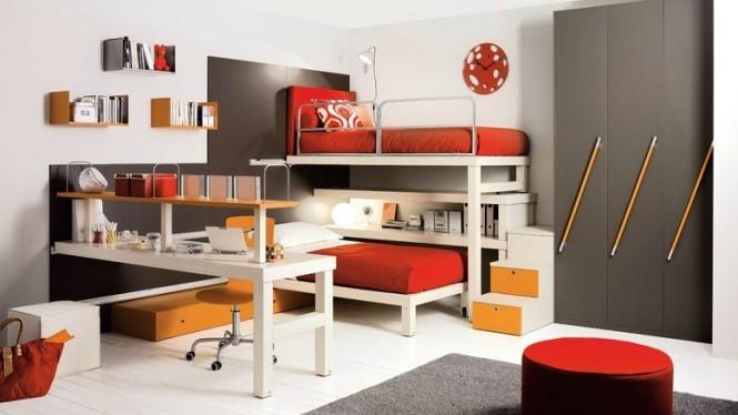 اتاق خواب اشتراکی به رنگ قرمز