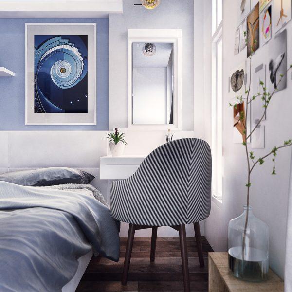 دیزاین آبی اتاق