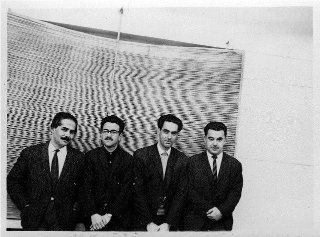 از راست: علی رواقی،محمد قهرمان،محمد رضا شفیعی کدکنی و مهدی اخوان ثالث ( دی1344)