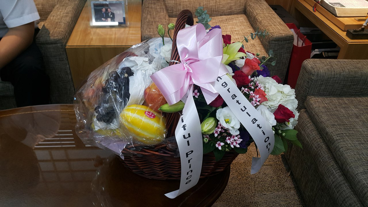 KHJ gift from the Russian fans - Fresh flowers and fruit basket