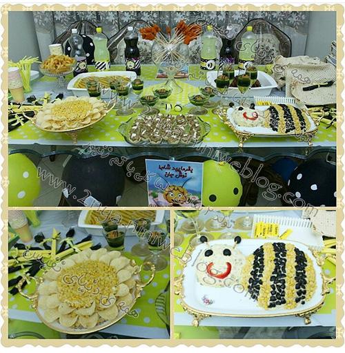 تزیینات میز شام جشن تولد 2سالگی با تم زنبوری حلما گلی