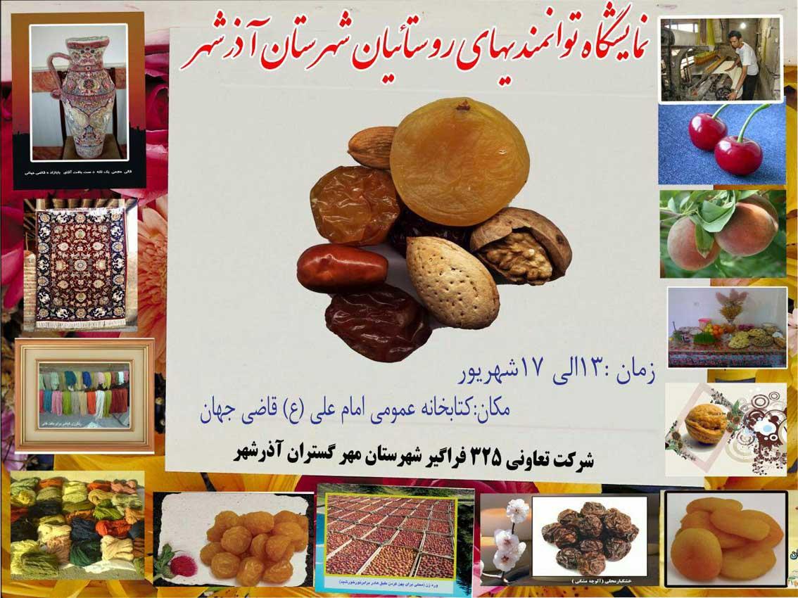 برگزاری نمایشگاه توانمندی های روستائیان شهرستان آذرشهر در کتابخانه امام علی(ع) قاضی جهان