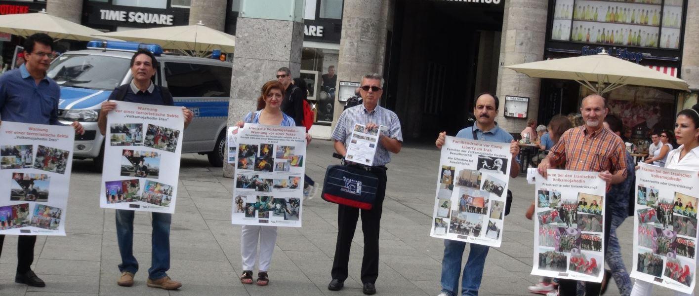 آکسیون اعتراضی فعالین مخالف فرقه رجوی در مرکز شهر کلن آلمان