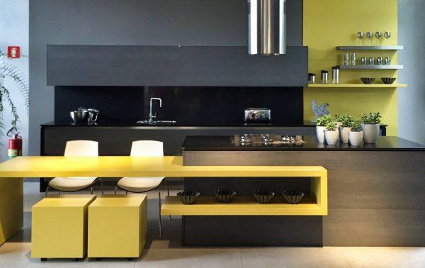 کابینت آشپزخانه رنگ زرد1