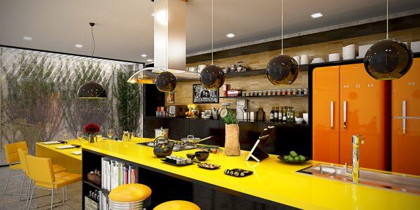 کابینت آشپزخانه رنگ زرد2
