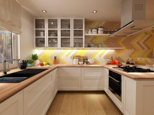 کابینت آشپزخانه رنگ زرد3