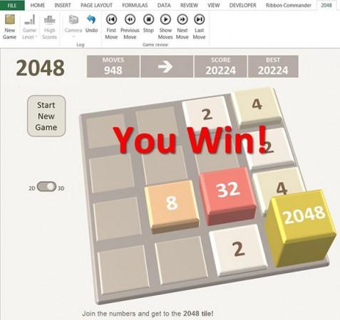 بازی 2048 در اکسل