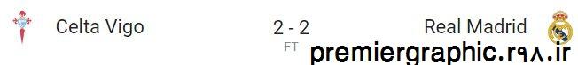 نتیجه بازی رئال مادرید و سلتاویگو 6 بهمن 95