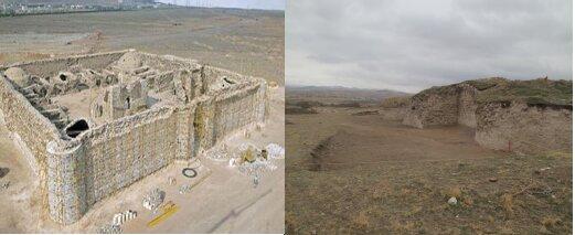 تصویر مقایسه قلعه سنگی  رباط کریم مربوط به دوره سلجوقیان با قلعه اوجان