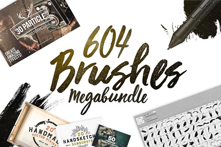 مجموعه ۶۰۴ قلم برای فتوشاپ | Photoshop Brushes