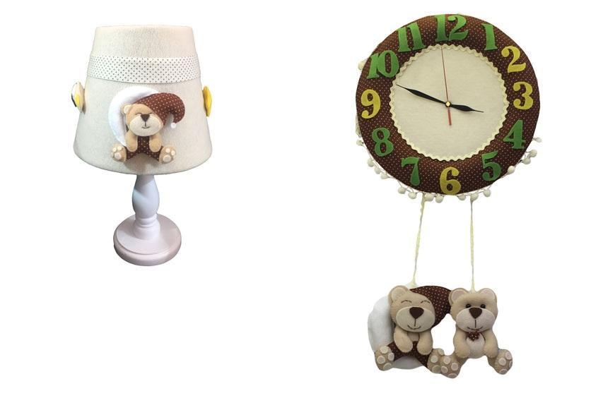 ست ساعت و چراغ خواب اتاق کودک طرح خرس