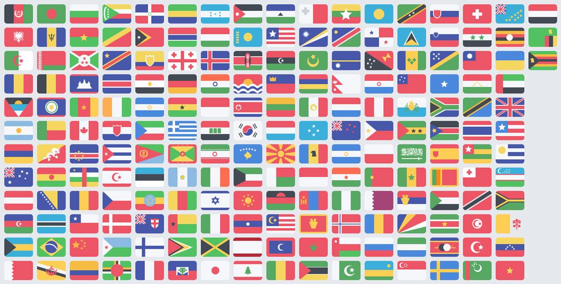 دانلود فایل لایه باز پرچم کشورهای جهان | Flat Flag set