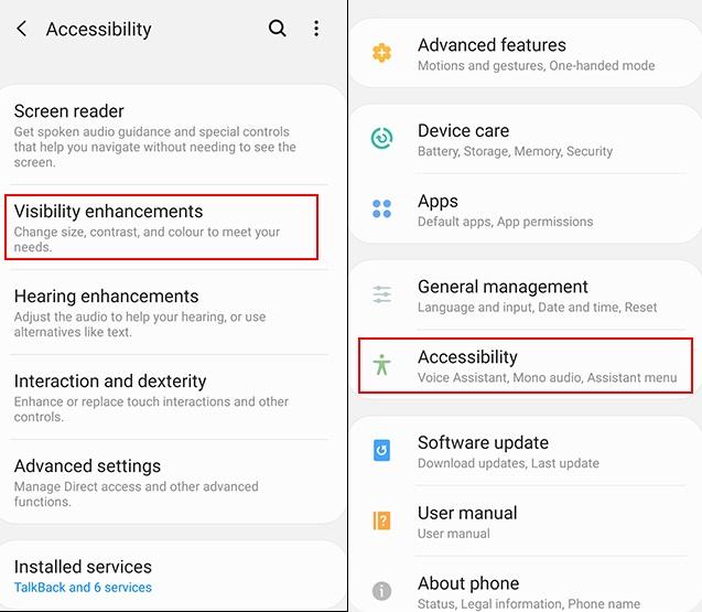 دسترسی به تنظیمات دید در گوشی اندروید
