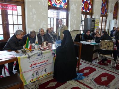 برپایی میز خدمت جهادی در مصلی بزرگ امام خمینی (ره) شهرستان رشت بمناسبت گرامیداشت هفته بسیج